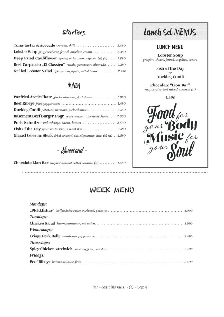 Lunch menu english